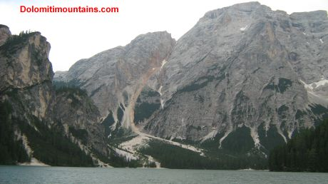 mountain into lake
