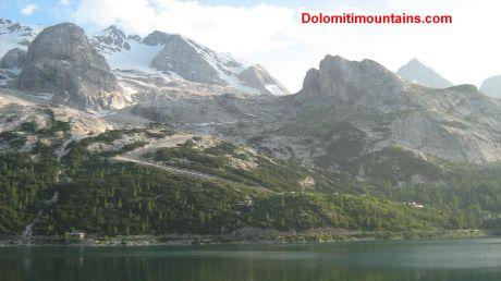 marmolada lake and ski slope