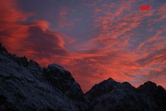 sunset on sappada mountains